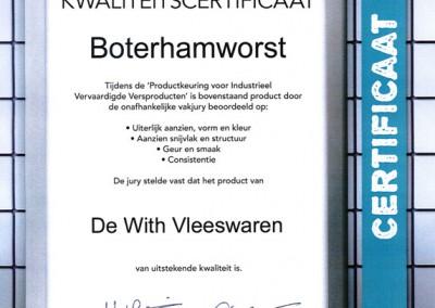 Certificaat-boterhamworst