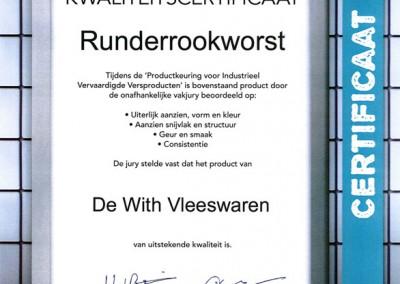 Certificaat-rundrookworst